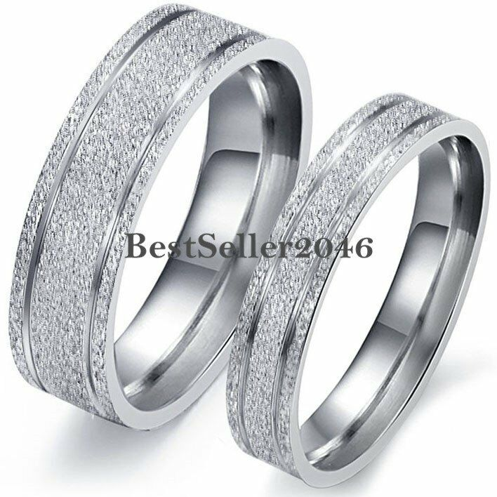 Frosted Silver Stainless Steel Mens Womens Engagement Ring
