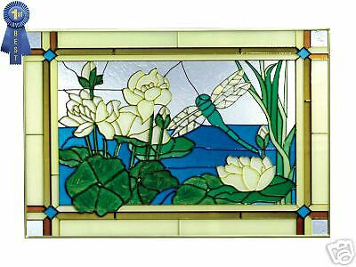 DRAGONFLY Amp WATERLILIES Stained Glass Hand Painted Art EBay