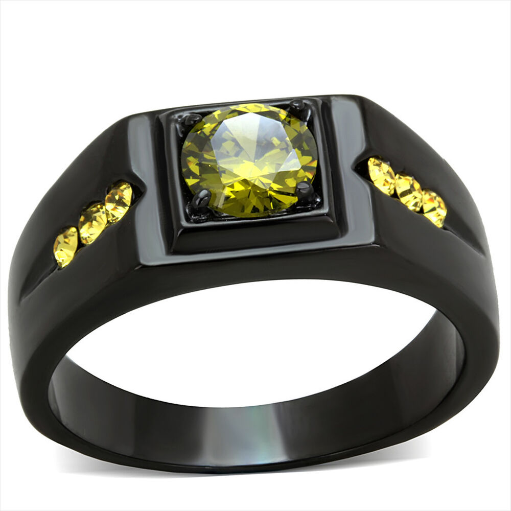 Mens 6 MM Olivine Color CZ Black Plated Stainless Steel