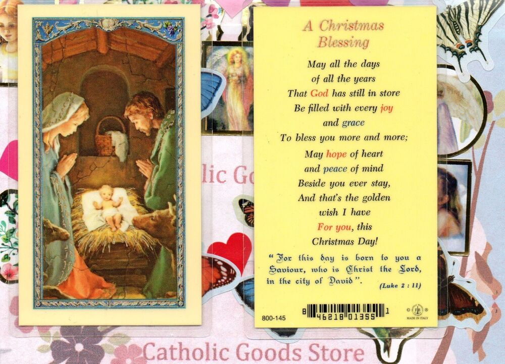 Nativity Front A Christmas Blessing Back Laminated Holy Card EBay
