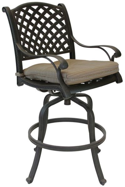 outdoor patio swivel bar stools Nassau Outdoor Patio Swivel Bar Stools Dark Bronze Color