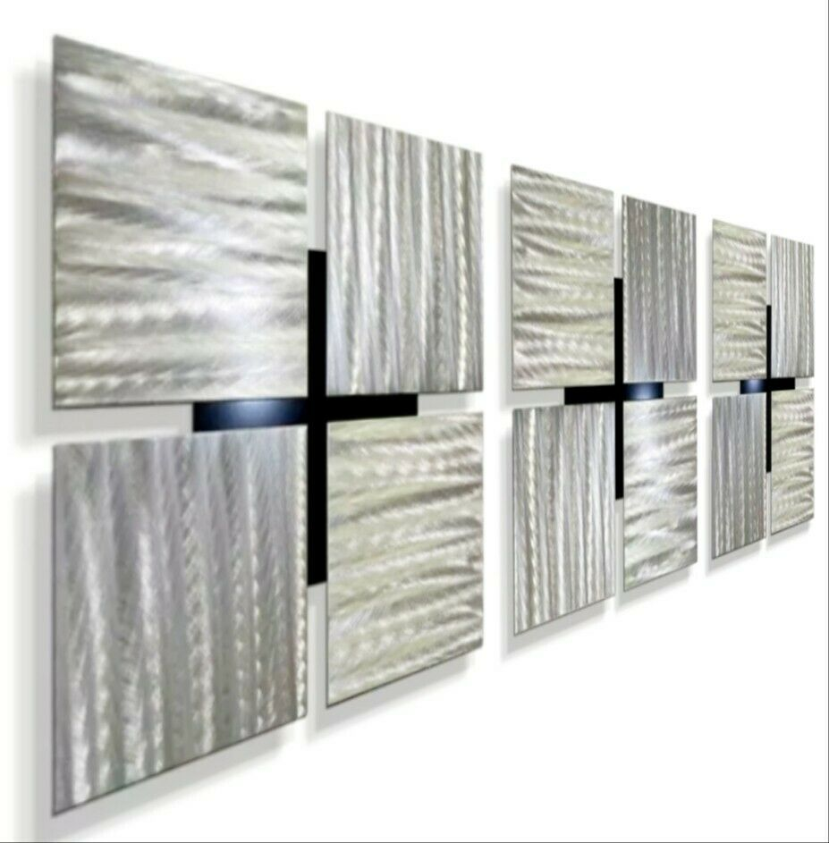 Statements2000 3D Metal Wall Art Silver Accent Panels By