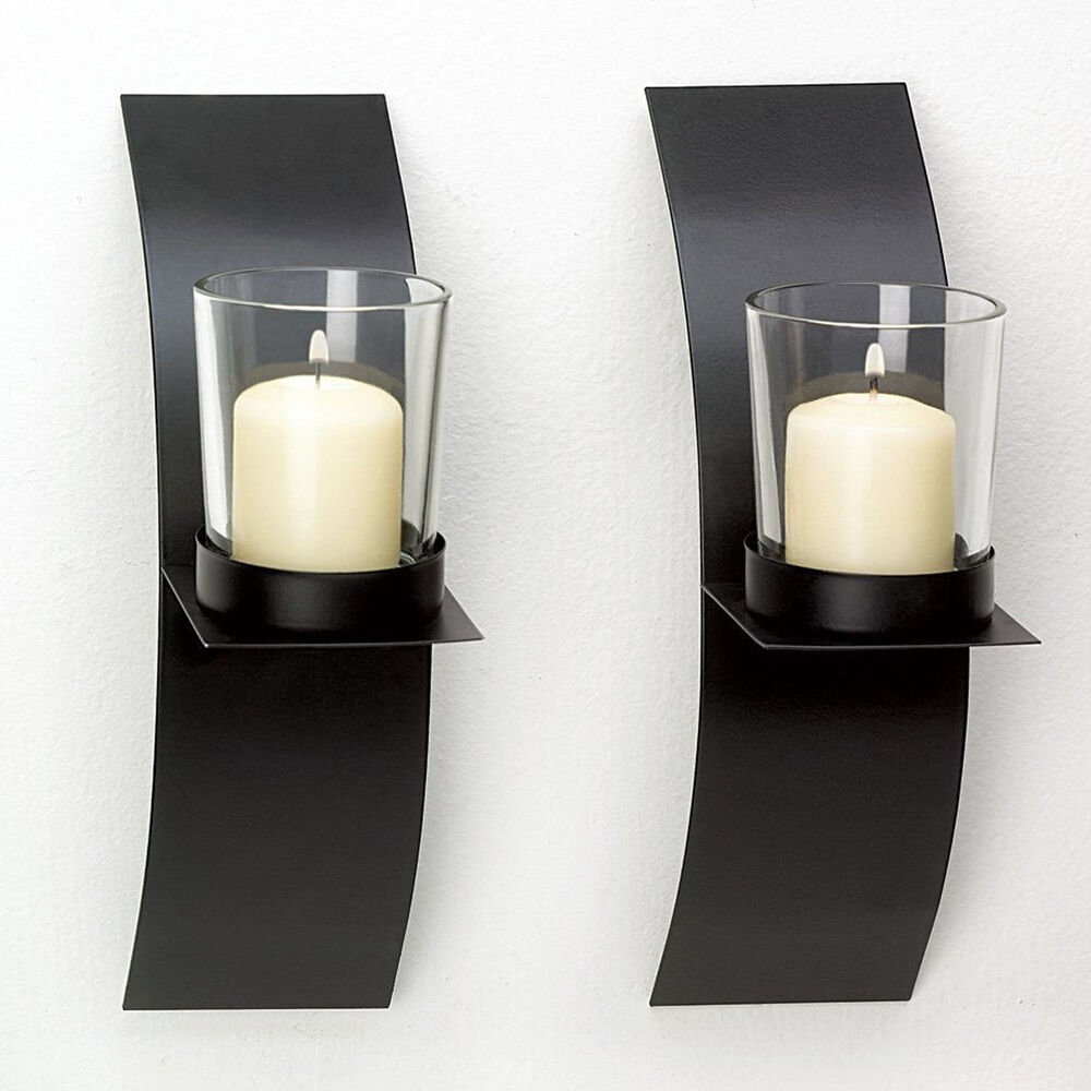 Modern Art Candle Holder Wall Sconce Black Wire Metal or ... on Decorative Wall Sconces Candle Holders Chrome id=52102