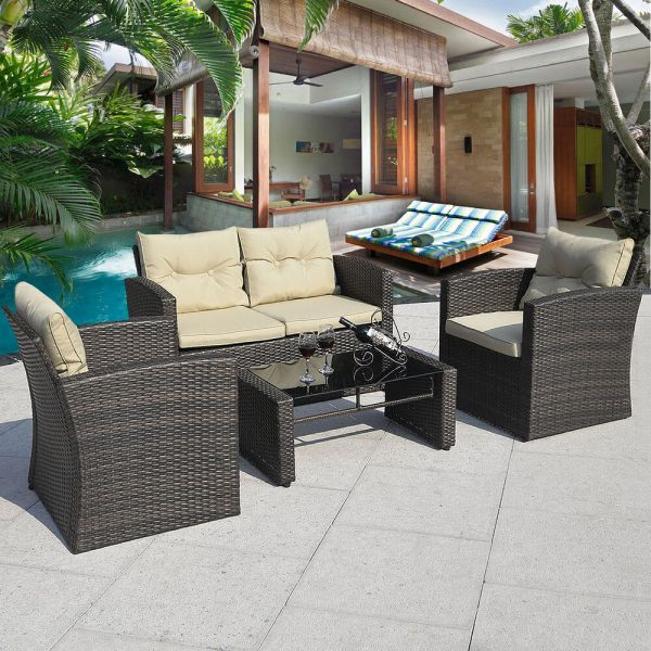 outdoor wicker rattan patio furniture 4PCS Gradient Brown Wicker Cushioned Patio Set Garden Sofa