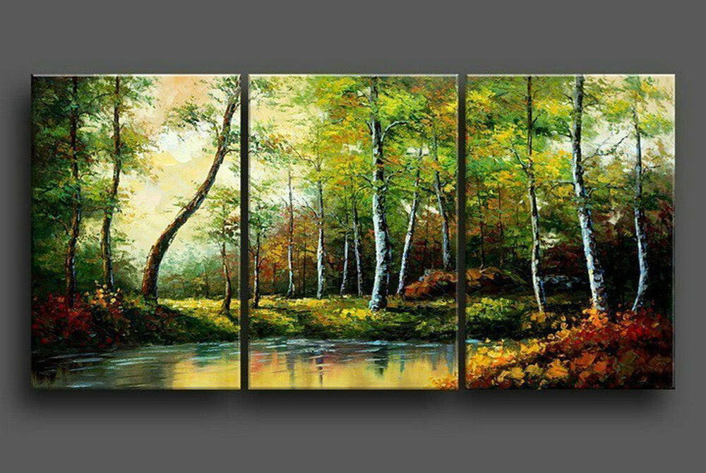 3Pc Modern Abstract Huge Wall Art Oil Painting On Canvas
