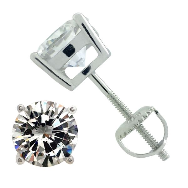 ROUND CUBIC ZIRCONIA SCREW BACK STUD EARRINGS 925 STERLING ...