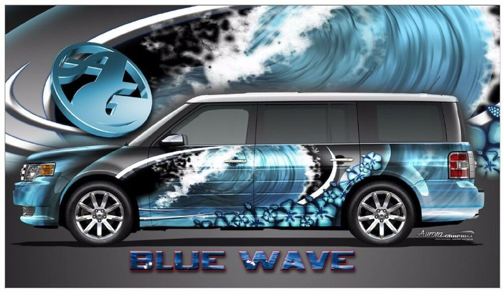 Blue Wave Hibiscus Go Kart Race Car Vinyl Graphic Decal