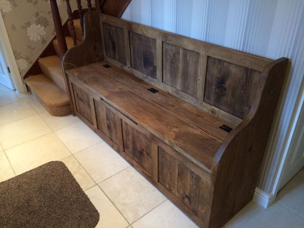 6 ft Rustic Plank Style Monks Bench/Settle/Pew With ...
