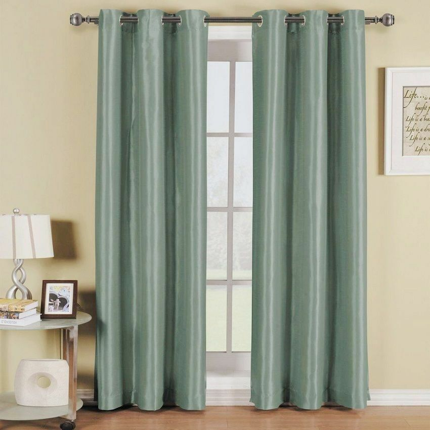2 PANELS TEAL BLUE LINED THERMAL BLACKOUT GROMMET WINDOW CURTAIN 55X63 PC K60 EBay