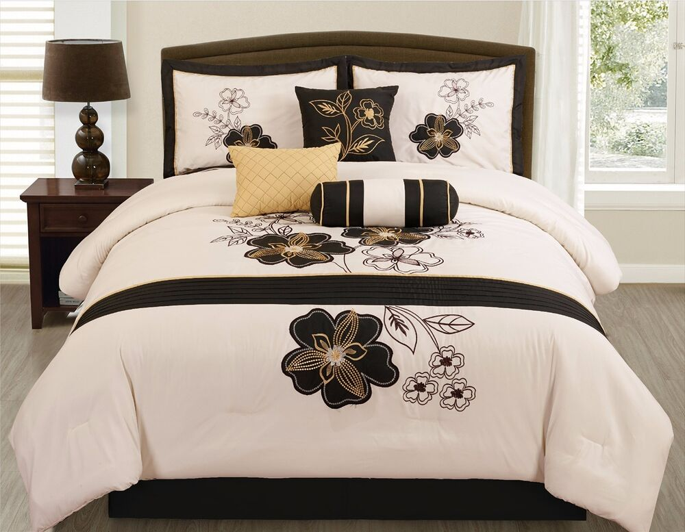 7 Pc Beige Black Gold Floral Vine Comforter Set King Size