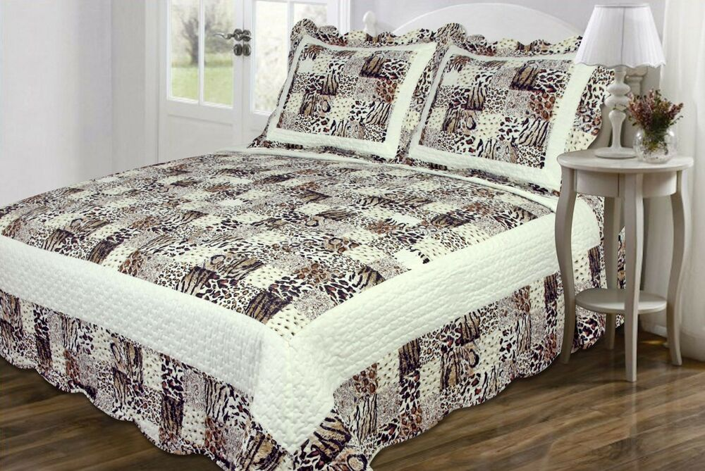 3 Pc Quilt Bedspread Multi Animal Print Patchwork Design