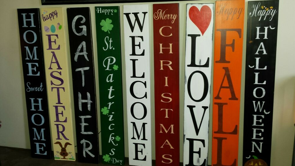 Large Rustic Wood Vertical Porch Sign Home Sweet Home 48