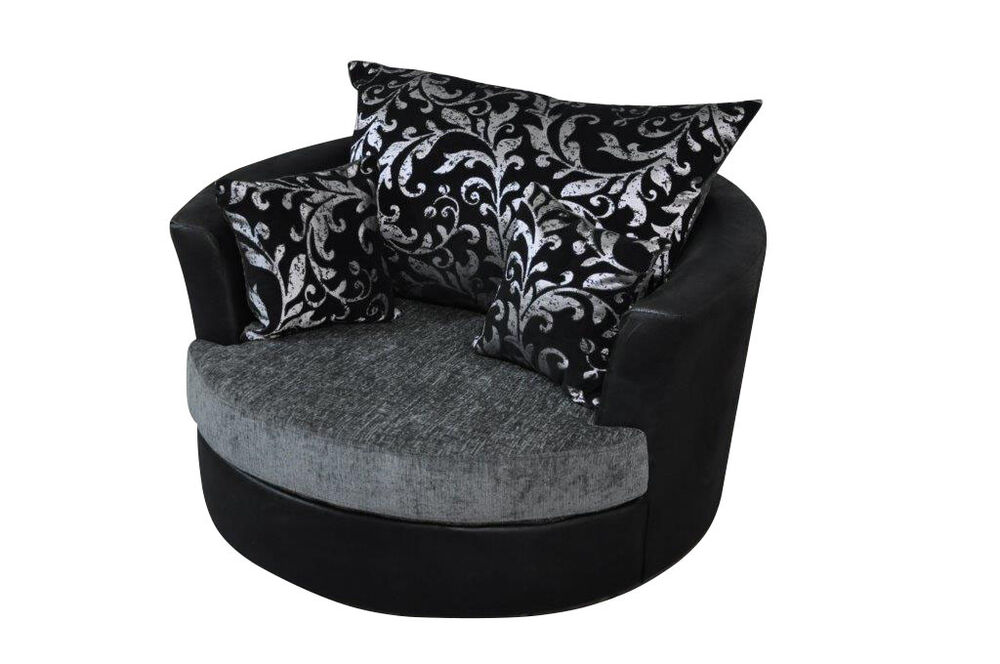 Large Swivel Round Cuddle Chair Chenille Fabric Grey Black