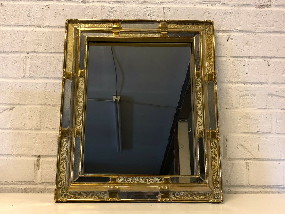 Vintage Wall Hanging Mirror With Silver And Gold Painted