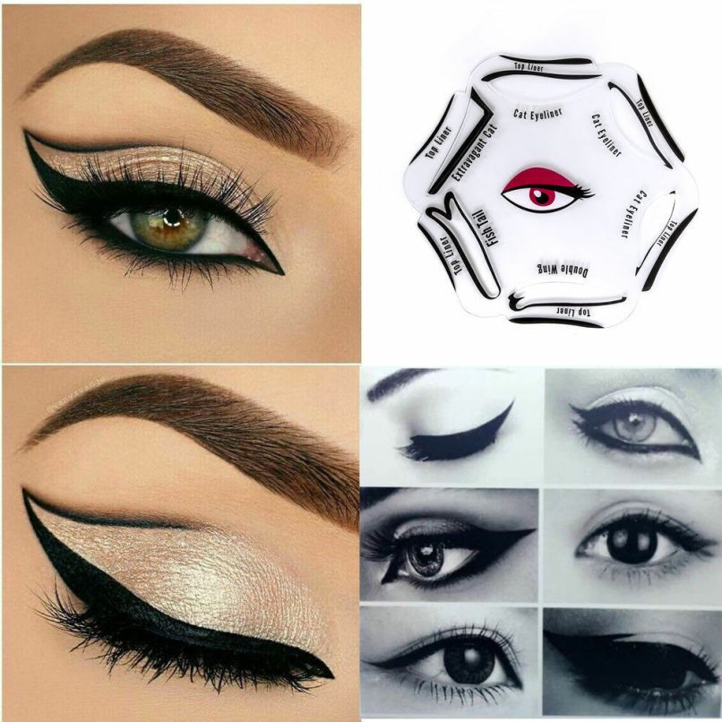 Uk 6 In 1 Eyeliner Stencils Makeup Guide Quick Smoky Cat Eye Liner