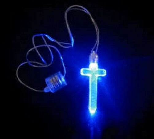 Cross Shape Blue LED Light Up Necklace Birthday Party