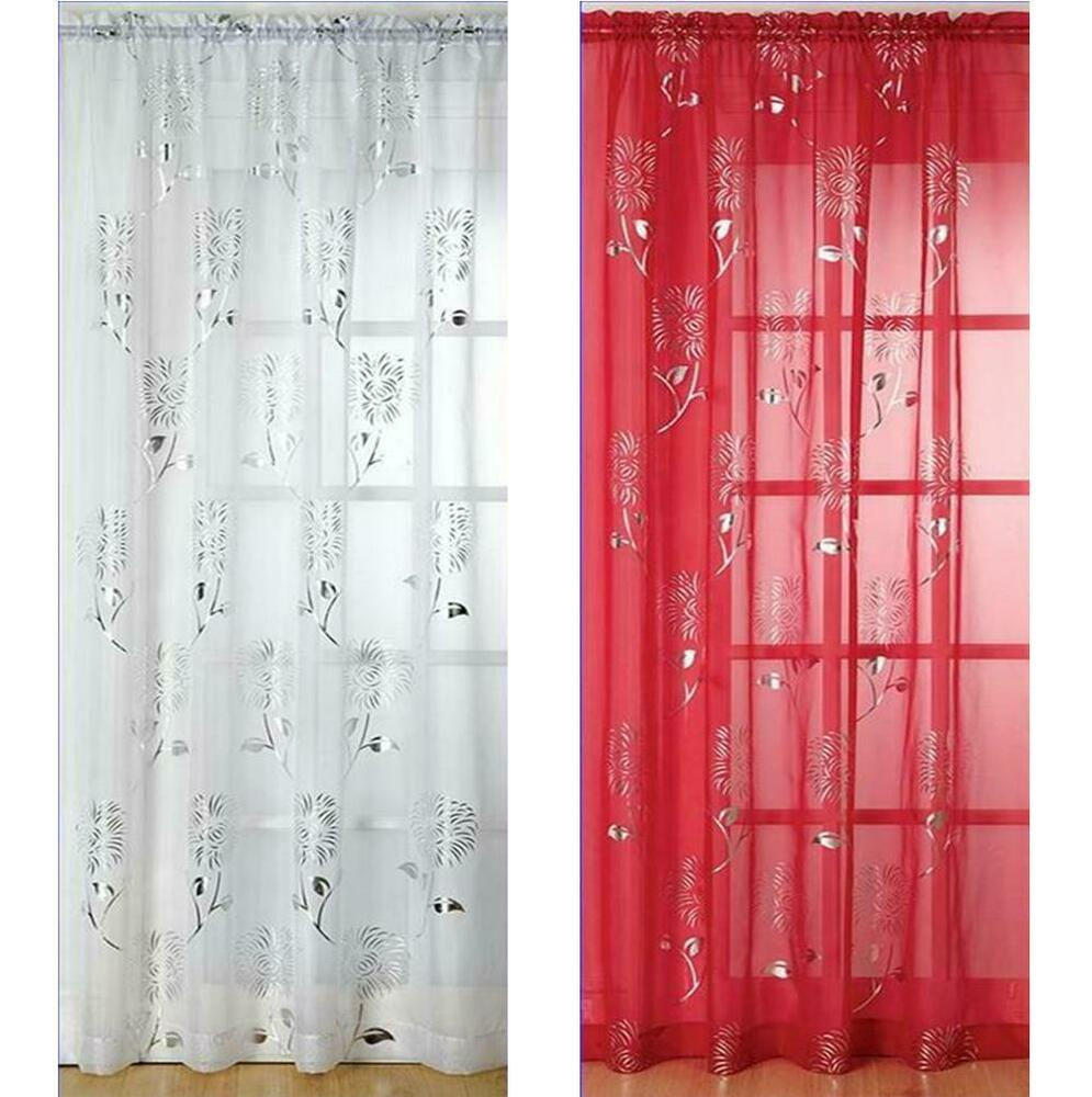 Slot Top Voile Curtain Panel Silver Design On Red Black Or White Voile C1 EBay