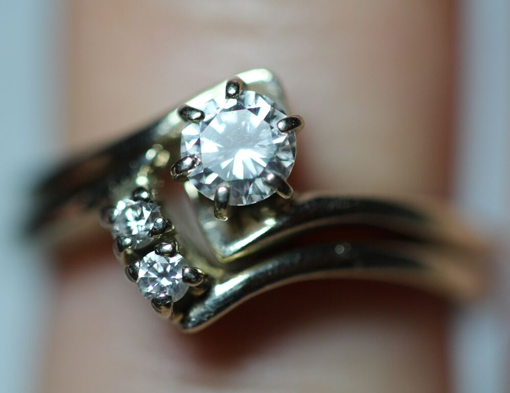 Vintage 40CT Round Diamond Solitaire 14K Gold Engagement