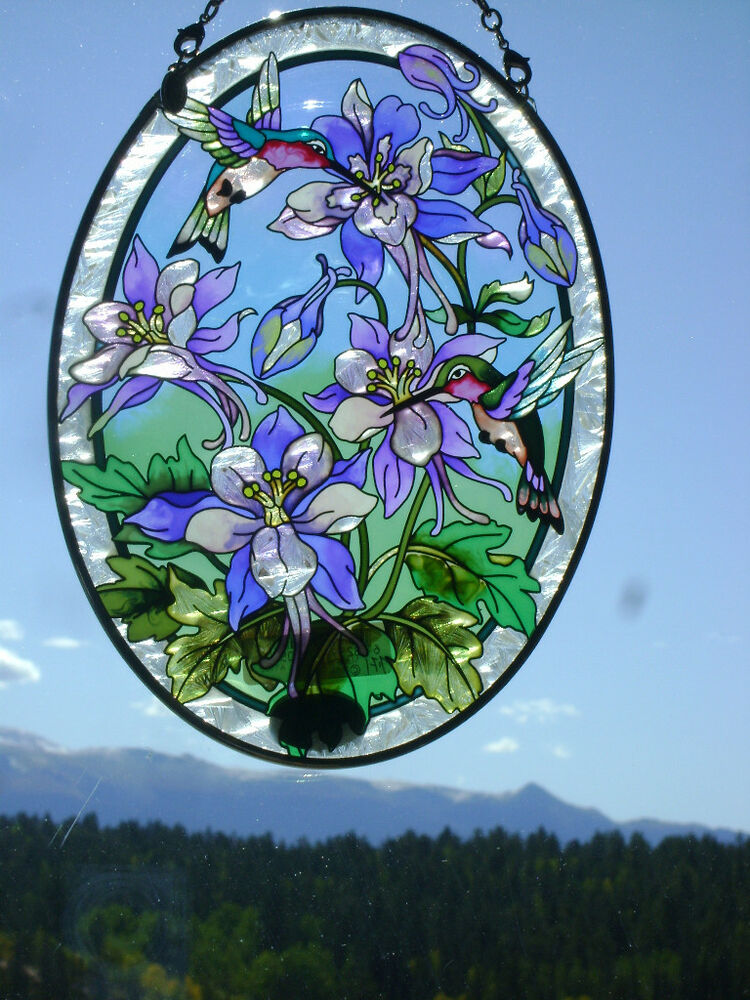 AMIA Stained Glass Look Columbines Hummingbirds