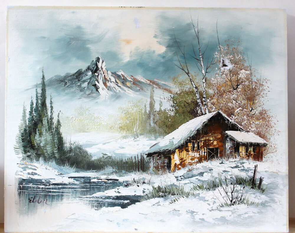 Vintage Oil Painting On Canvas Landscape Winter Mountain