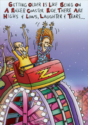 A Roller Coaster Ride Funny Birthday Card Greeting Card