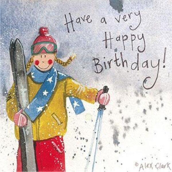 Ski Girl Birthday Card By Alex Clark Skis Lady Skiing