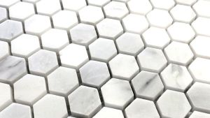 "CARRARA 1"" HEXAGON MARBLE MOSAIC WALL AND FLOOR TILE"