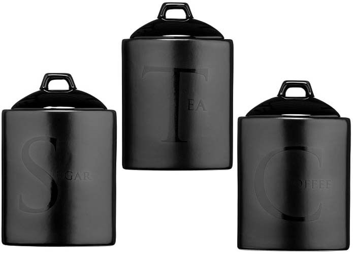 Text Ceramic Tea Coffee Sugar Storage Canisters Black