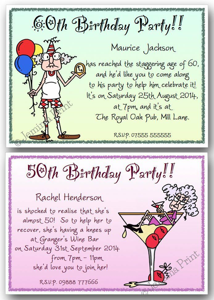 40th 50th 60th 70th 80th 90th Personalised Birthday Party Invites Funny X10 J135