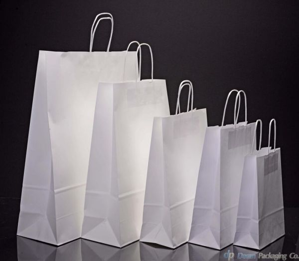 White Kraft Paper Carrier Bags With Twisted Handles | eBay