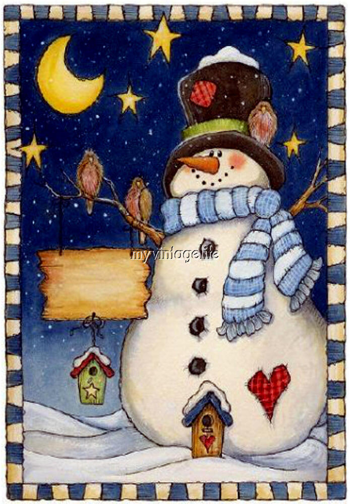 Country Christmas Snowman Starry Night Primitive Quilting