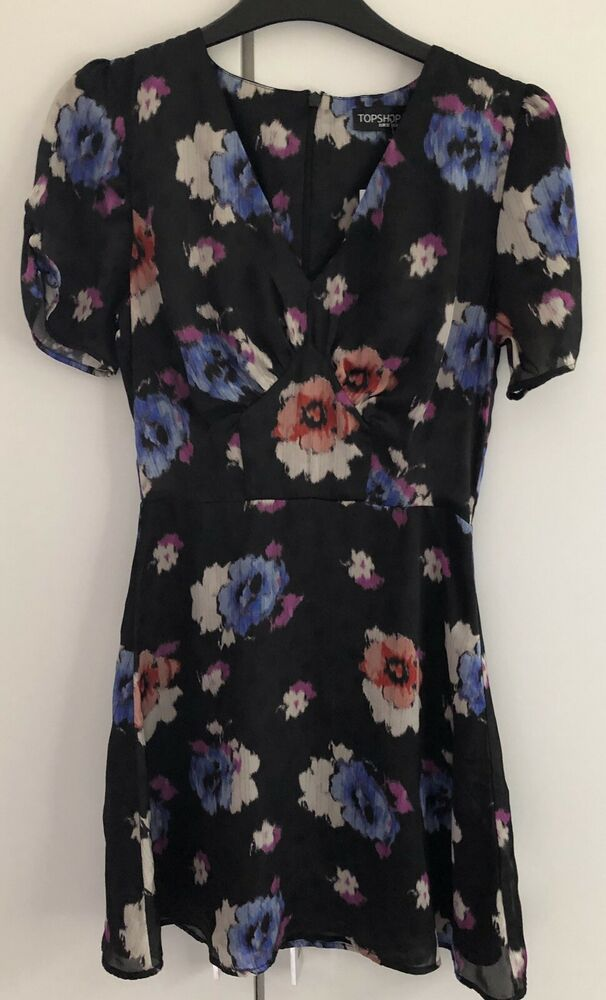 Topshop Black Pink Blue Spot Short Floral Print Tea Dress