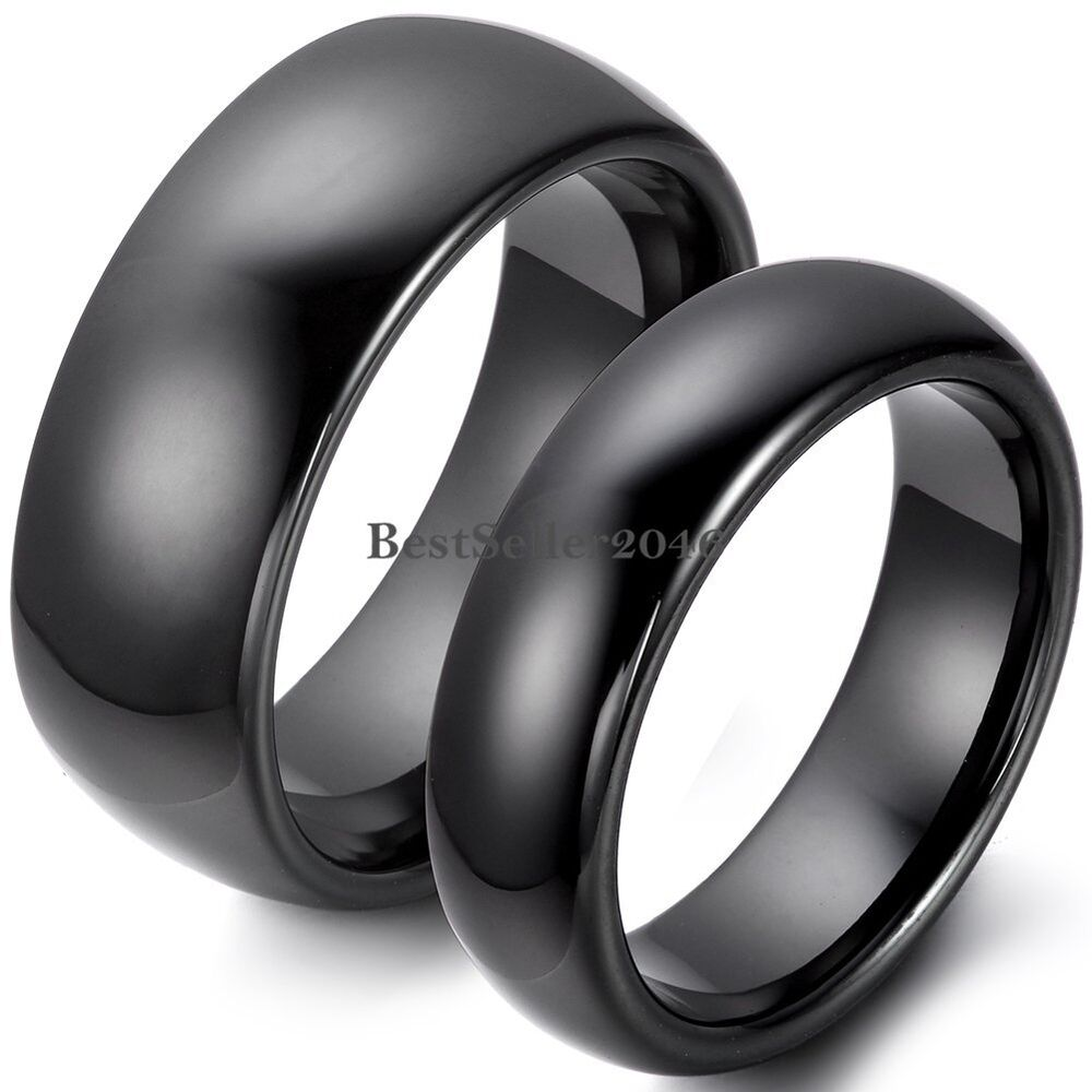 8mm 6mm Polished Black Dome Ceramic Rings Couples