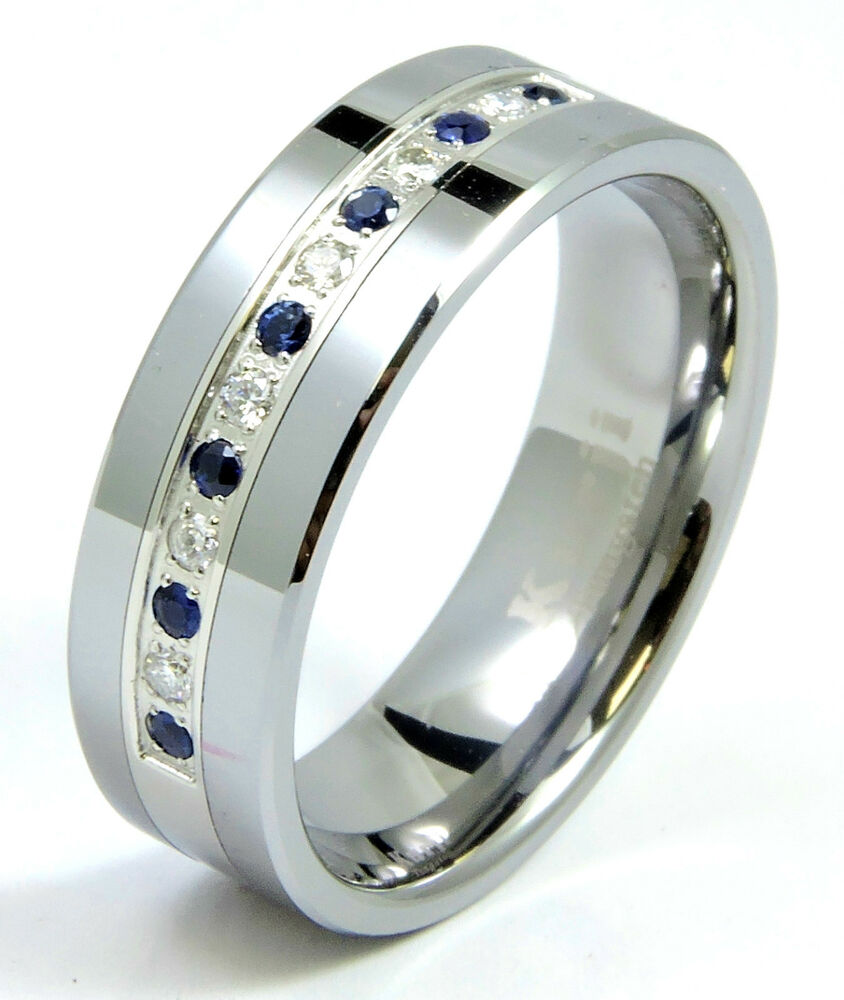 Diamond Sapphire Tungsten Modern Mens Wedding Ring Band