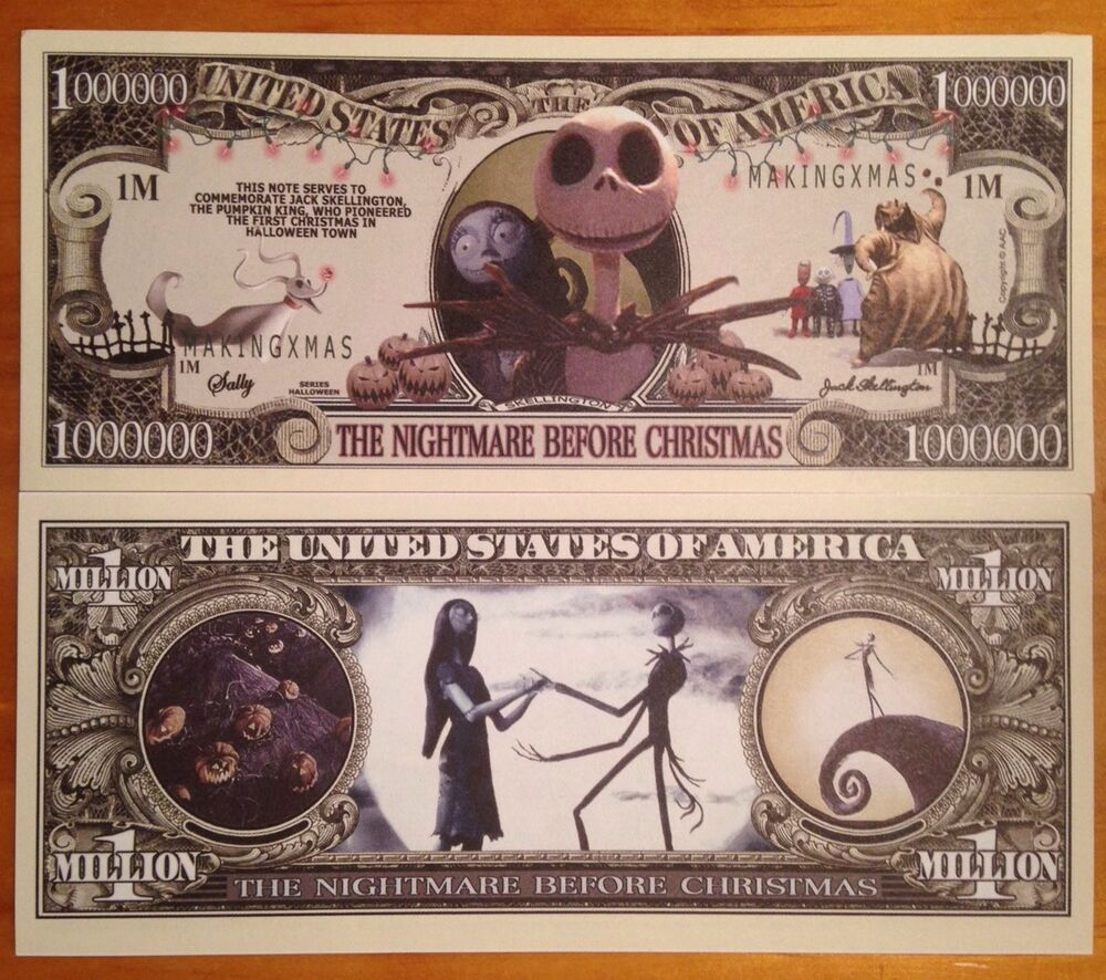 Nightmare Before Christmas Million Dollar Bill EBay