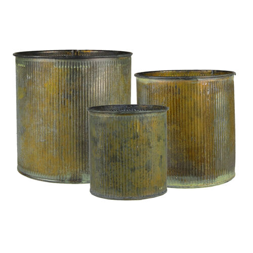 Set Of 3 Corrugated Zinc Metal Vintage Cylinder Vase Pot