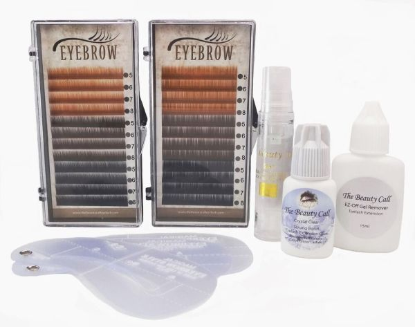 Eyebrow Extension Kit: 4 Mix Size 5,6,7,8mm/3 Colors Light ...