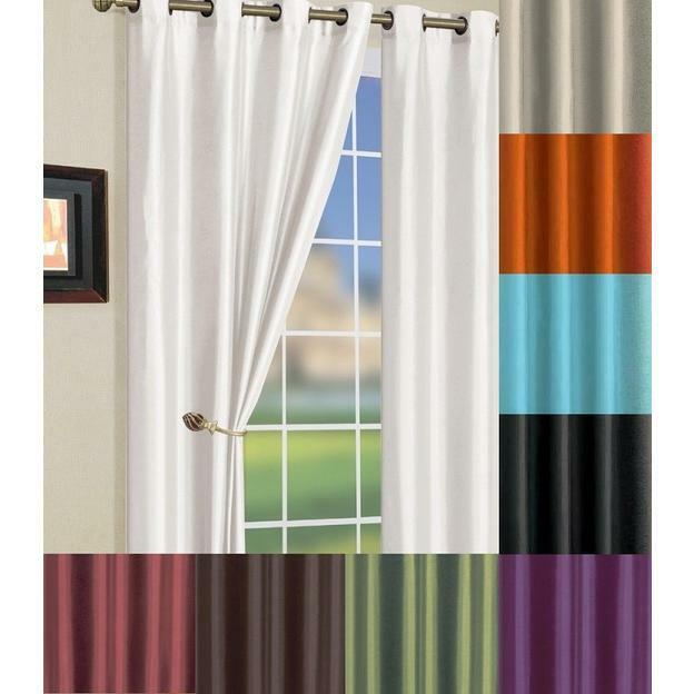 Solid Faux Silk Grommet Long Window Curtain Panel 58 By 95 Inch Many Colors EBay