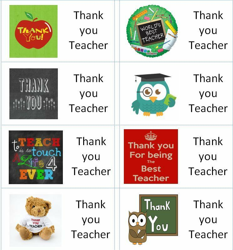 40 X Thank You Teacher A Labels Stickers For Cake Sweets