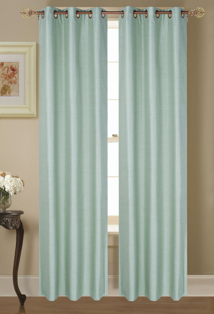 2 PANELS SOLID SAGE GREEN THERMAL LINED BLACKOUT GROMMET WINDOW CURTAIN 64 EBay