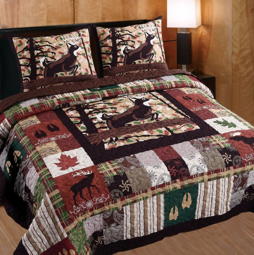 WHITETAIL LODGE 3pc King Quilt Set Cabin Hunting Buck Deer
