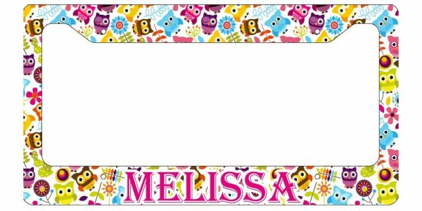 PERSONALIZED LICENSE PLATE FRAME CUSTOM CAR TAG CUTE OWLS ...