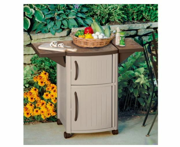 Suncast Outdoor Patio Cart BBQ Grill Prep Serving Station ... on Patio Grill Station id=63849
