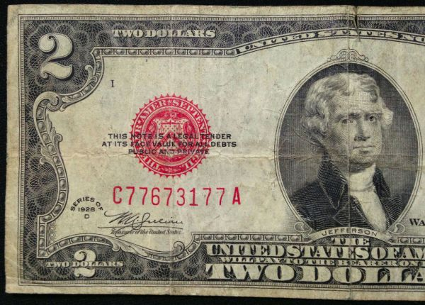 1928-D $2 Two Dollar Bill US Currency, 1928D Red Seal ...