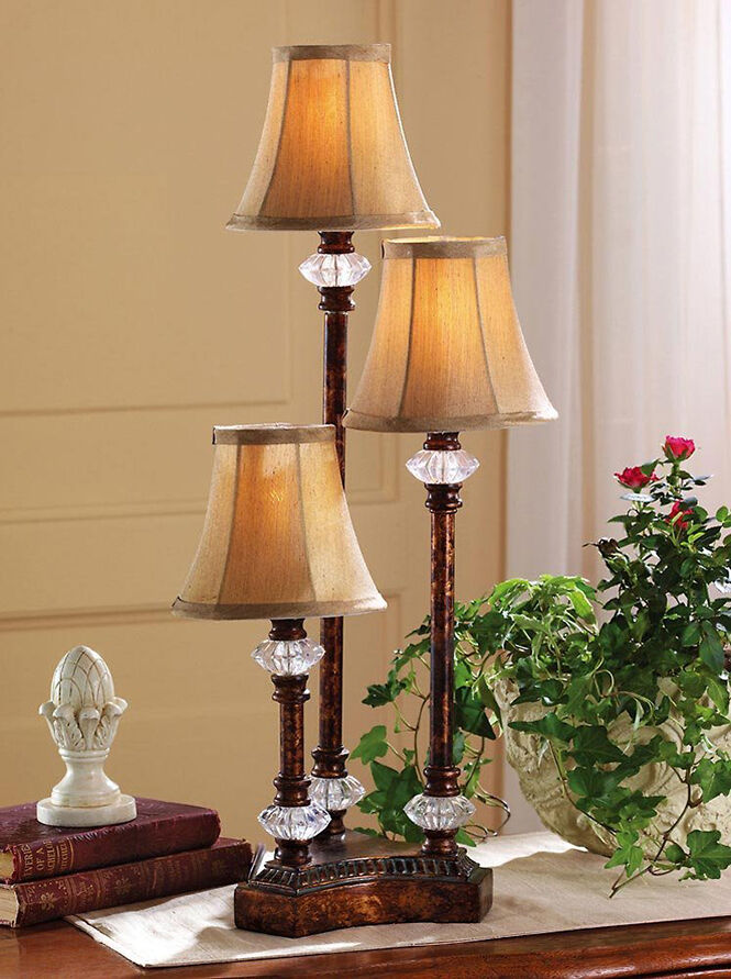 Traditional Style Lamp Set Of 3 Elegant Candlestick Table
