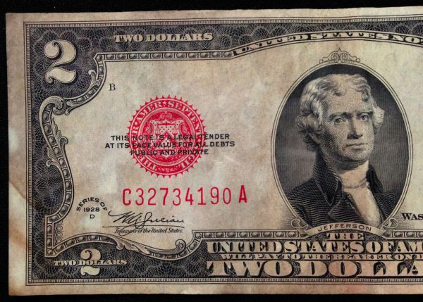 1928-D Circulated MULE $2 Two Dollar Bill US Currency ...