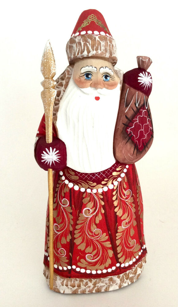 Russian SANTA Wood Hand Carved Hand Painted Father Of