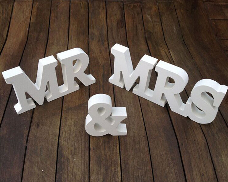 LARGE Wooden MR & MRS LETTER SET Wedding Sign Vintage