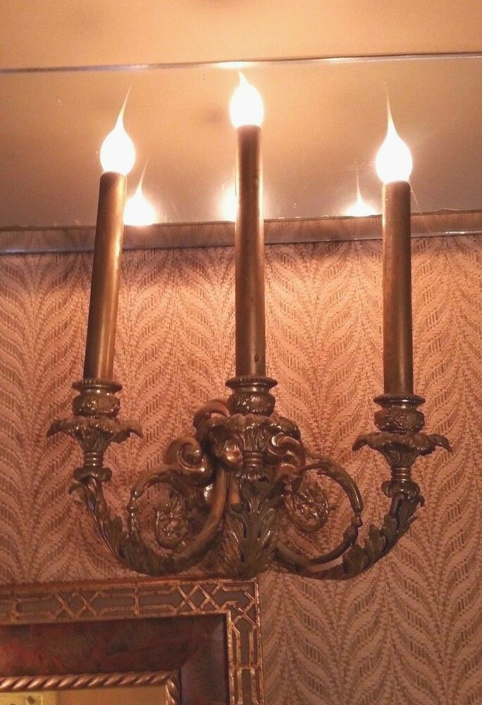 Solid Brass Electric Wall Sconce 3 Arm Lights - Vintage ... on Brass Wall Sconces Non Electric Lighting id=36784