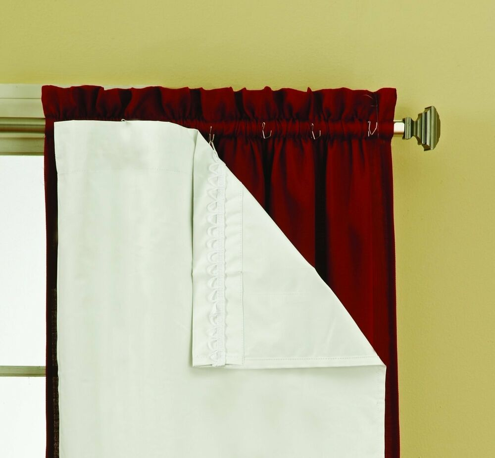 Thermaliner Blackout Panel Pair White Curtain Liners 54x 60 Noise Reducing EBay